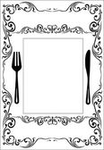 Decorated black menu on white background — Stock Vector