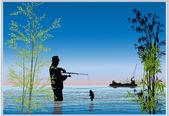 Fishermen in blue lake illustration — Stock Vector