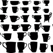 Forty isolated cups collection — Stock Vector