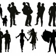 Set of people couples — Stock Vector