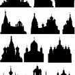 Large set of church and  cathedral silhouettes — Stock Vector