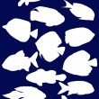 Fish silhouettes on dark blue — Stock Vector #34799283