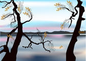 Autumn trees near lake illustration — Stockvektor