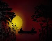 Fishermen in boat at dark sunset — Stock Vector