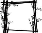 Bamboo black frame on white — Stock Vector