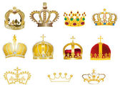 Eleven gold crowns — Stock Vector