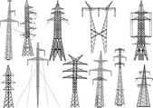 Eleven electric pylons collection — Stock Vector