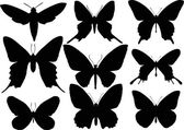 Set of nine butterfly wings shapes — Cтоковый вектор