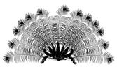 Peacock feather fan silhouette on white — Vettoriale Stock