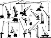 Twenty building cranes on white — 图库矢量图片