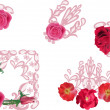 Set of pink rose ornamental elements on white — Stock Vector #34805809