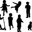 Eight child silhouettes on white — Stock Vector