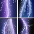 Stock Vector: Four lightnings in lilac sky