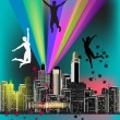 Composition with jumping people at city background — Stock Vector