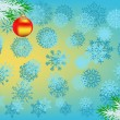 Blue snowflakes background and two red christmas balls — Stock Vector