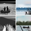 Four compositions with fisherman silhouettes — Stok Vektör