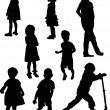 Eight isolated child silhouettes — Stock Vector