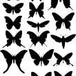 Set of seventeen butterfly wings shapes — Stock Vector