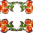 Stock Vector: Design with orange color flowers on white