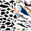 Large collection of sea animals — Stock Vector