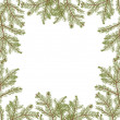 Green fir branches frame on white — Stock Vector