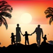 Family and palm trees silhouettes at sea sunset — Stock Vector