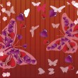 Red background with butterflies and hearts — Stock Vector