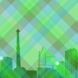 Abstract green background with city landscape — Imagen vectorial