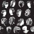 Twenty three woman hairstyles — Grafika wektorowa