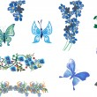 Blue butterflies and flowers collection isolated on white — Stock Vector #34803953