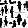 Fifteen child silhouettes collection — Stock Vector