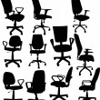 Stock Vector: Eleven office chairs isolated on white