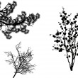 Set of black trees branches isolated on white — Stock Vector #34806003