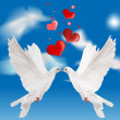 White doves and red hearts in blue sky — Stock Vector