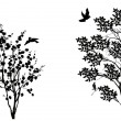 Birds near two small trees isolated on white — Vector de stock  #34809719