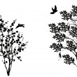 Birds near two small trees isolated on white — Imagens vectoriais em stock