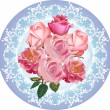 Stock Vector: Pink roses round design on blue background