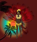 Vrouw in rode veren op carnaval — Stockvector