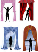 Set of girls near curtains — Stock Vector