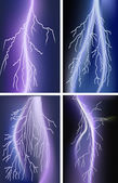 Four lightnings in lilac sky — Stock Vector
