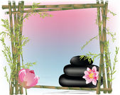 Green bamboo frame and pink lily flowers — Stockvector