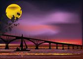 Long bridge under moon light — ストックベクタ