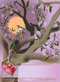 Lilac tree blossom and bird — Stock vektor