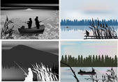 Four compositions with fisherman silhouettes — Stock Vector