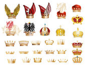 Large set of gold crowns — Stock Vector