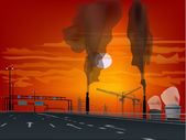 Empty street in industrial landscape at sunset — Stock Vector