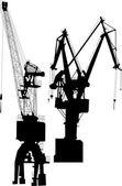 Two black industrial cranes — Vector de stock
