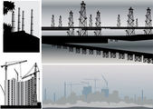 Set of four industrial landscapes — Stock Vector