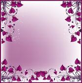 Cadre des coeurs violet — Vecteur