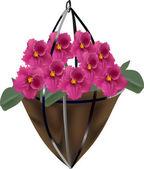 Dark pink violet flowers in bag — Stock Vector
